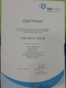 certyfikat fizjoterapia osteopatia