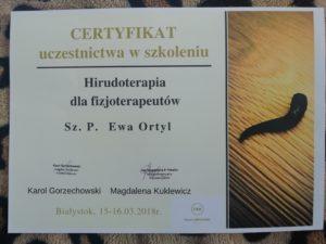 hirudoterapia rzeszów certyfikat